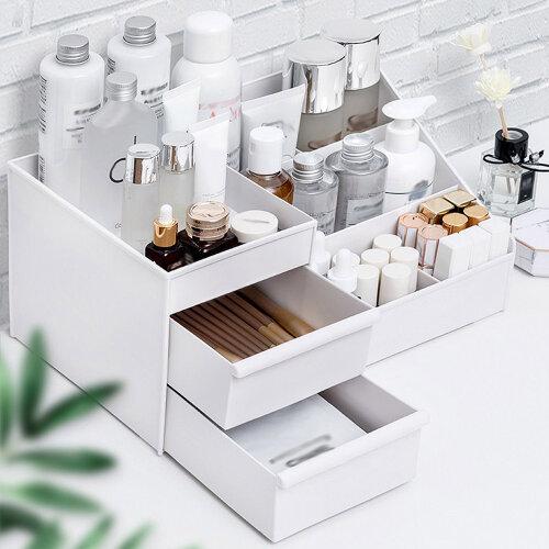 Plastic Cosmetic Organizer Makeup Box Case Holder Drawers White