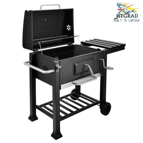 BBQ Grill Stove Cart Trolley Barbecue Grille Brazier Fire Pit Thermometer Large