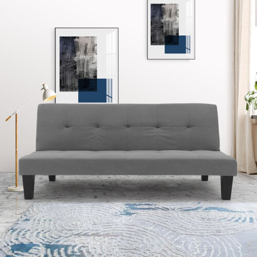 Fabric 3 Seater Sofa Bed Grey Faux Suede Sofa bed