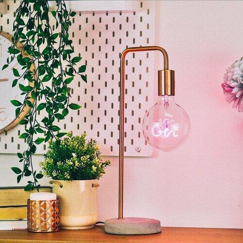Bar Message Light Bulb - Pink Gin