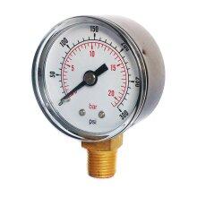 Pressure Gauge 40mm Dial 0/300 PSI 0/20 Bar 1/8 BSPT Bottom Connection