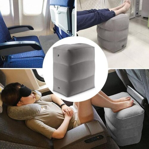 3 Layers Inflatable Eco-friendly Foot Rest Pillow For Airplane/Train/Car (length:15.7inches)
