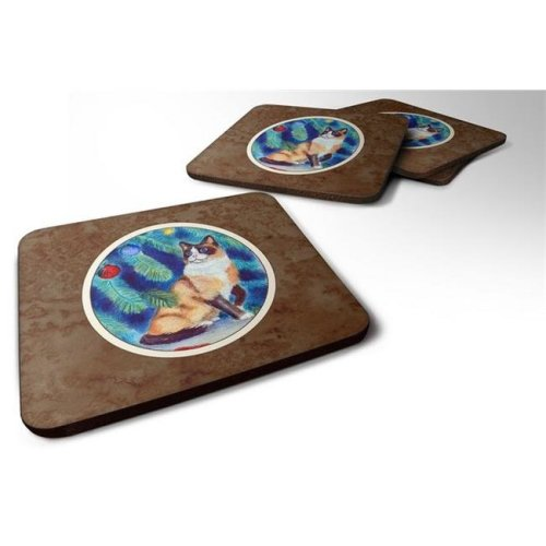 Christmas Tree Cat Foam Coaster, Set of 4