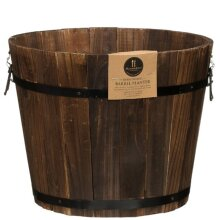 Solid Hand Crafted Large Burntwood Barrel Planter Add Charm and Character To Your Garden.