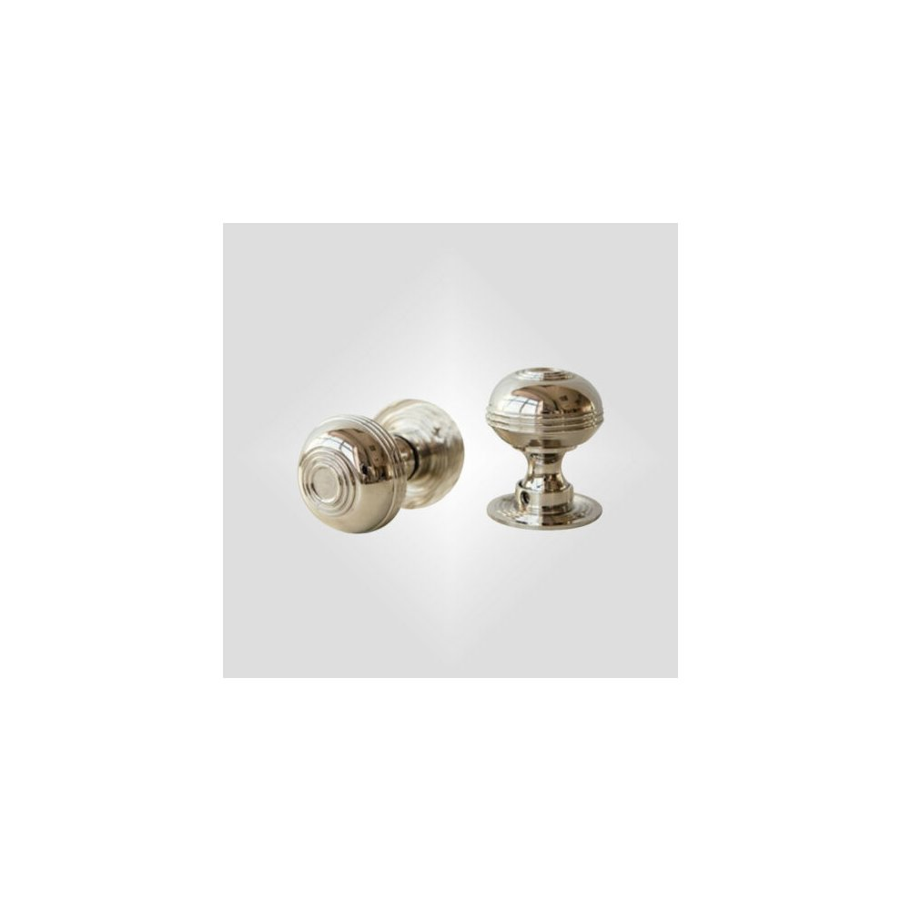 Traditional Antique Reproduction Style Pair Solid Brass Mortice Door Knob Nickel