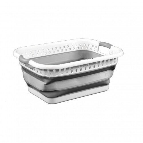 Oypla Grey and White - Pop Up Collapsible Plastic Washing Laundry Basket
