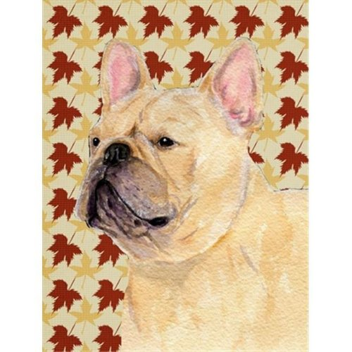 15 x 15 in. French Bulldog Fall Leaves Portrait Flag Garden Size