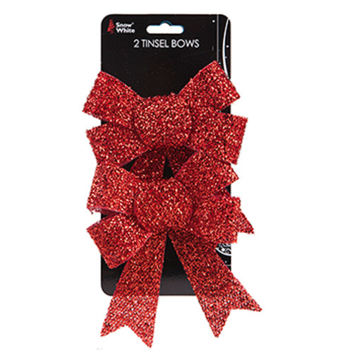 2pk Red Bow Christmas Tree Decorations