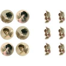 Fairy Cherub Victorian Style Stickers sheet 9x14 cm 4 sheets 2 designs