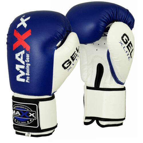 (4OZ) Maxx® Maya Leather GEL Boxing Gloves MMA Training Fight Sparring Glove Ufc Blue