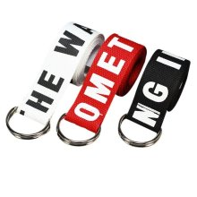 Unisex Casual Belt Letter print designer Canvas Belt for Men Women Double Ring Metal Buckle Strap jeans corset red black white