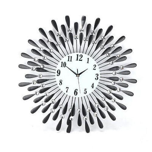 60cm Black Diamante Metal Beaded Sunflower Wall Clock
