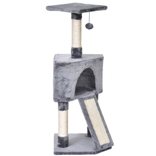 PawHut 3-Level Cat Tree Activity Centre Sisal Scratching Posts Perch Condo- Grey