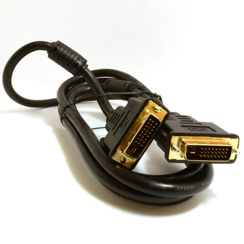 kenable DVI D Dual Link with Ferrite Cores Male to Male Cable Gold 2m