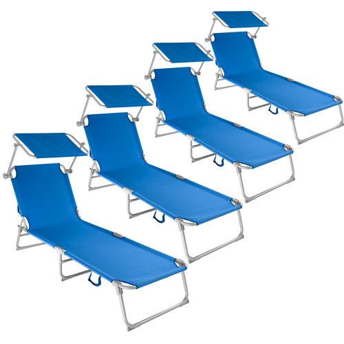 4 Sun loungers with sun shade blue