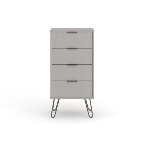 Grey Chest of 4 Drawers Bedroom Living Room Storage Furniture With Metal Handles