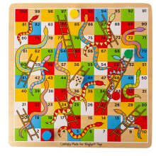 Bigjigs Toys Wooden Traditional Snakes and Ladders Game