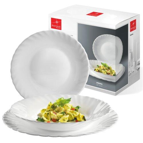 Bormioli Rocco Prima 18 Pcs Dinnerware Set Opal Glass Dining Plates