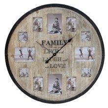 """Hometime Wooden Aperture Frame Clock """"Family"""" 80cm - W7846"""