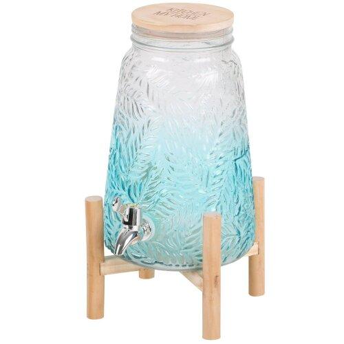 4 Litre Glass Drink Dispenser With Tap & Lid Beverage Dispenser On Wood Stand