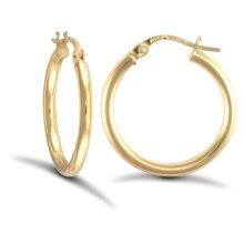Jewelco London Ladies 9ct Yellow Gold Polished 2mm Hoop Earrings 20mm