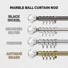 Chrome Extendable Metal Curtain Pole 28mm Marble Ball