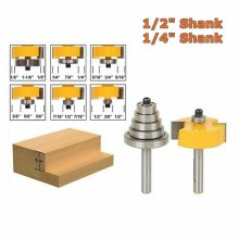 "1/2"" or 1/4"" Shank Solid Wood 1/2"" H Rabbet Router Bits with 7 Bearings Set"