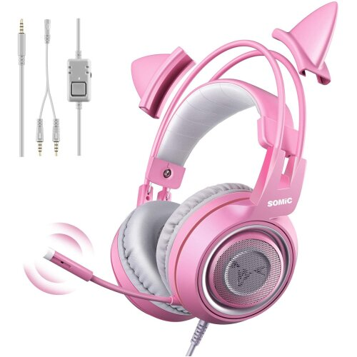 SOMIC G951S Pink Over Ear Gaming Headset with Mic