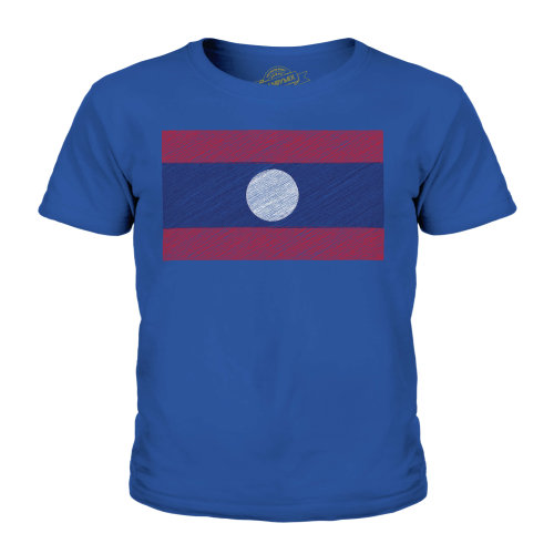 (Royal Blue, 5-6 Years) Candymix - Laos Scribble Flag - Unisex Kid's T-Shirt