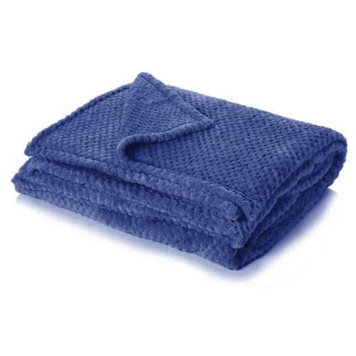 (Navy Blue, King - 200 x 240cm) Dreamscene Luxurious Waffle Honeycomb Blanket Throw (Large)