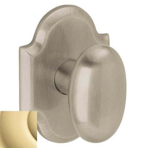 Baldwin 5024030MR Oval Estate Door Knobs without Rosettes, Polished Brass