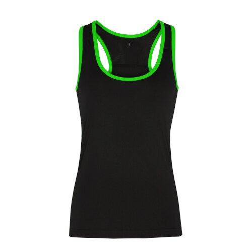 (Black/Lightning Green, L) TriDri Womens Panelled Fitness Gym Running Sports Fitness Workout Vest Top Tee