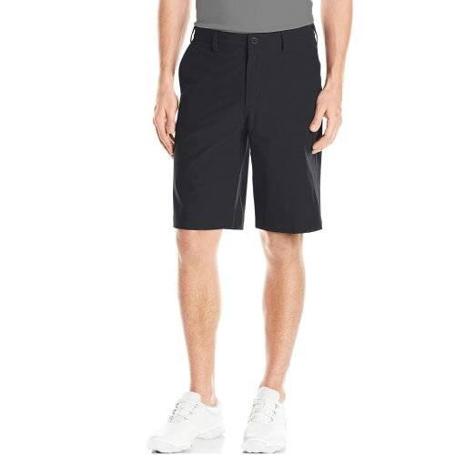 (Black, 30) Men's Golf Short Chinos Flat Front Short Stretch