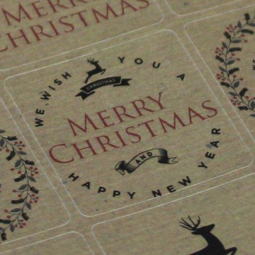 Kraft Brown Vintage Christmas Reindeer Sticker Sheet - Advent x 35 Craft Xmas