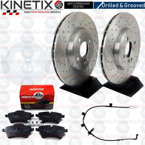 FOR MINI COOPER S R57 FRONT DRILLED GROOVED BRAKE DISCS MINTEX PADS WIRE 294mm