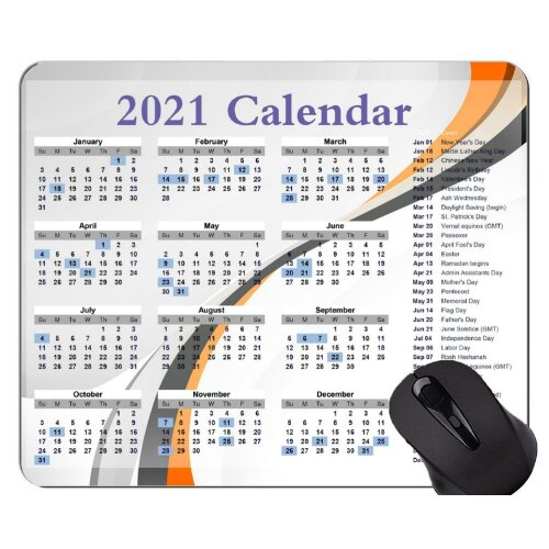 2021 Galaxy Calendar  Mouse Pad With Locking Edge,Curved Line Themed Rubber Mouse Pad