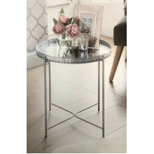Karina Bailey Inspired Tray Table with Mirrored Glass Top Silver