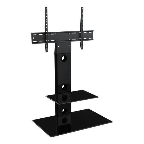King Cantilever TV Stand with Brackets, Black, Rectangle Base, TVs up to 60""
