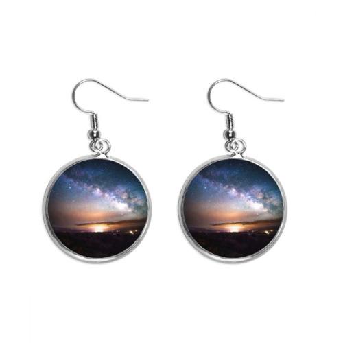 Music Notation Bubble Combination Pattern Ear Dangle Silver Drop Earring Jewelry Woman