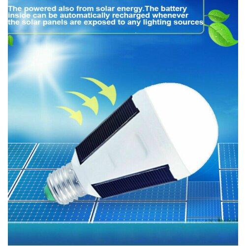 Portable LED Bulb Light Solar Powered Outdoor Garden Lights E27 7W Hanging Bulbs