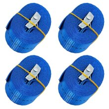 "BlueCosto 1"" x 8' Lashing Strap Tie Down Straps, Rated 500 Lbs - Pack of 4, Blue"