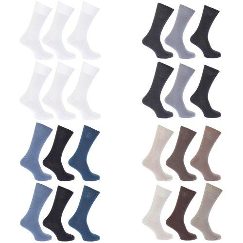 FLOSO Womens/Ladies Plain 100% Cotton Socks (Pack Of 6)