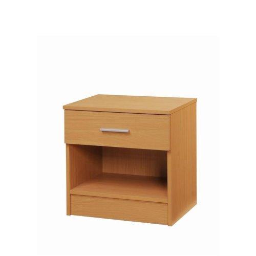 Rio Costa Nighstand Bedside Table Cabinet 1 Drawer Bedroom Furniture Beech Oak Effect