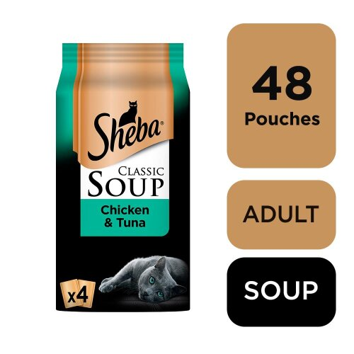 SHEBA Classics SOUP Cat Pouches with Chicken & Tuna Fillets 4x40g (Pack Of 12)