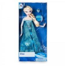 Disney Frozen Elsa Doll Classic Braided Hair Ring Blue Glittery Dress