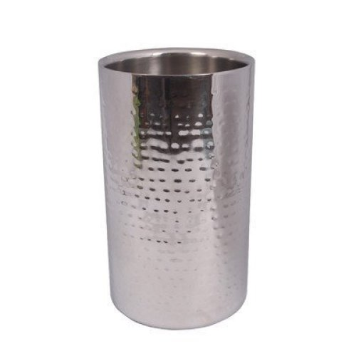 Epicurean Hammered Steel Elegant Straight Wine Cooler, Stainless Steel, Silver