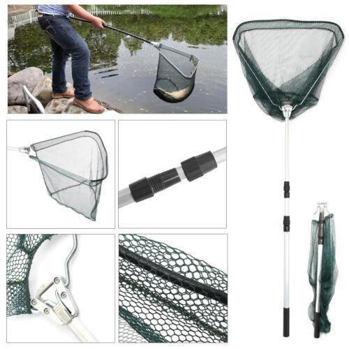Telescopic Extending Pole Mesh Fishing Landing Net Lightweight Folding