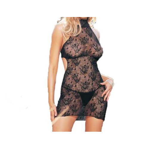 Leg Avenue Black Lace Halter Dress with G string Set One Size