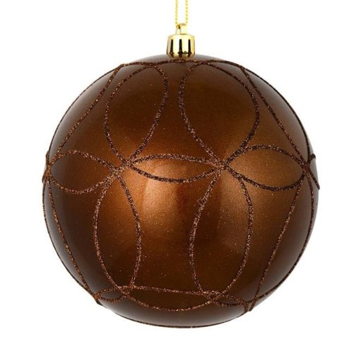 Vickerman N182576D 4.75 in. Mocha Candy Ball Ornament with Circle Glitter Pattern, 4 per Bag - Pack of 12