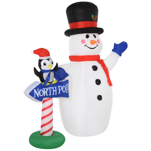 HOMCOM 1.9m Christmas Inflatable Snowman Penguin North Pole Sign Weather-Resistant Outdoor Indoor Safe Decoration w/ Accessories